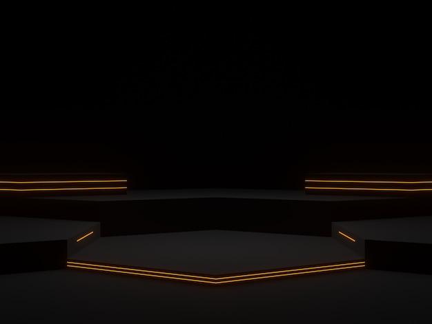 3d 그림입니다. 네온 불빛이 있는 검은색 미래형 스탠드. 육각 과학 연단.
