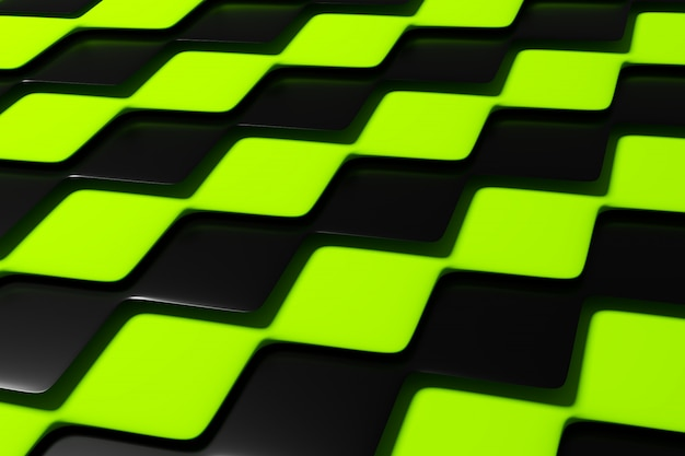 3d illustration black and green checkered geometric pattern of pyramids. unusual chessboard. decorative print, pattern.