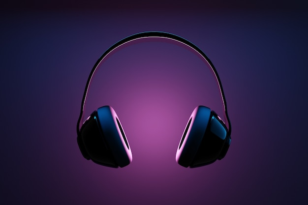 3d illustration of black retro headphones  on  black  isolated background on neon lights.