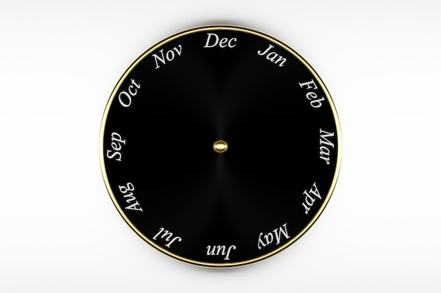 3d illustration black round clock calendar with 12 months on white  background.