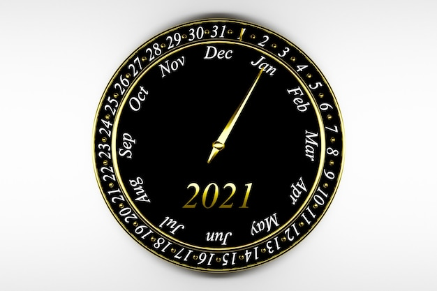 3d illustration black round clock calendar
