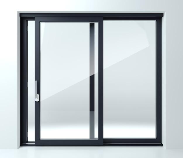 3d 그림. 상점이나 창문에 검은 색 미닫이 문. 배너 배경입니다. 광고하는. 현대 건설 기술