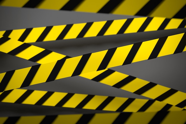 3d illustration of a black and yellow stripes in the middle on a gray background. warning tapes depicting danger signs and a call to stay away. barrier tape.