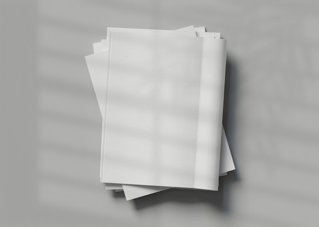 3dイラスト。空白の雑誌のモックアップ。あなたのデザインの準備ができたテンプレート。ビジネスコンセプト。