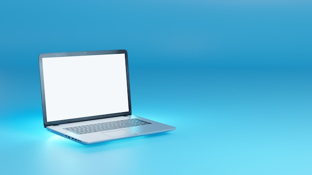 3d illustration blank screen silver laptop on back light blue.