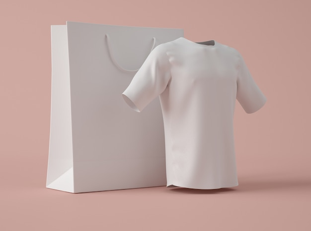 3d illustration. blank white t-shirt with shopping bag.