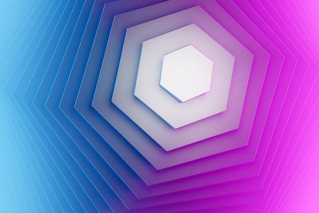 3d 그림 파란색과 분홍색은 미래적이고 창의적인 기하학적 육각형 패턴 벽지입니다. 트렌디한 그라데이션 모양 구성입니다. 다채로운 하프톤 그라디언트입니다.
