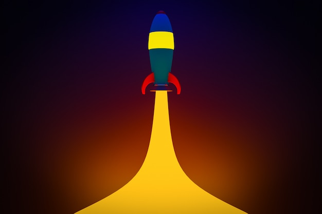 3d illustration of a blue cartoon-style rocket rushing into space