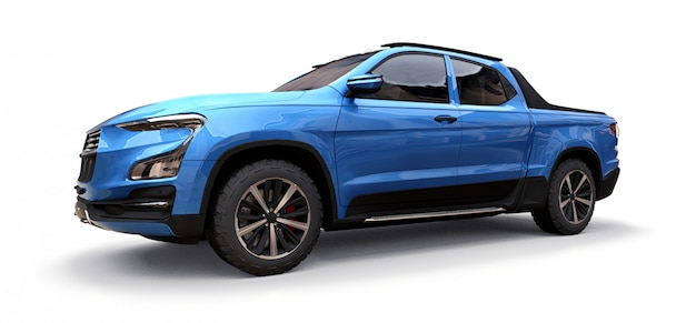 3d illustration of blue concept cargo pickup truck on white isolated