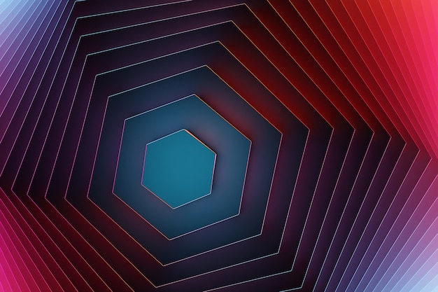 3d 그림 파란색 미래적이고 창의적인 기하학적 육각형 패턴 벽지. 트렌디한 그라데이션 모양 구성입니다. 다채로운 하프톤 그라디언트입니다.