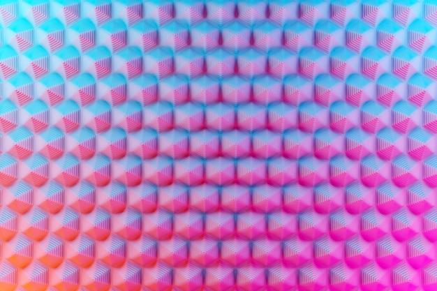 3d иллюстрации сине-розовый узор, клетка в геометрическом орнаментальном стиле из шестиугольников. абстрактный геометрический фон, текстура. необычная стерео картина Premium Фотографии