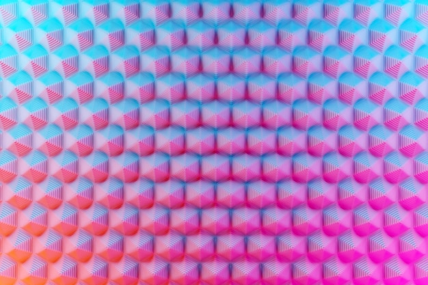 3d illustration blue-pink pattern, a cage in a geometric ornamental style from hexagons. abstract geometric background, texture. unusual stereo picture