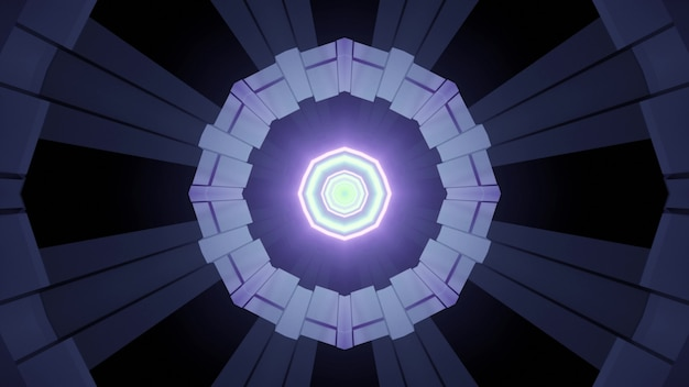 3d illustration in blue and purple shades of tunnel perspective with symmetric polygonal design and glowing neon lines for futuristic architecture and technology concept