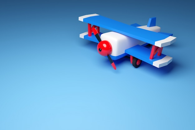 3d illustration of a blue and red airplane