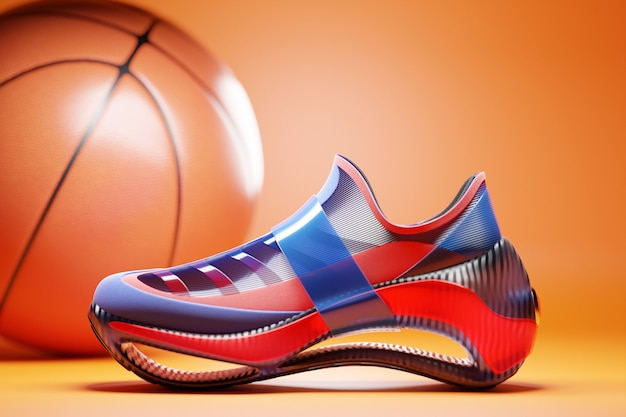 3d illustration blue and red new sports sneakers on a huge foam sole with a basketball ball