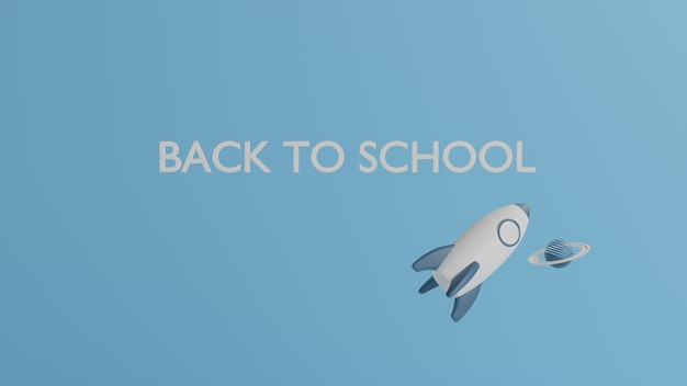 3 dイラストレーション、テーブルの上の学校用品の青いトーン、学校のコンセプトに戻る3 dレンダリング