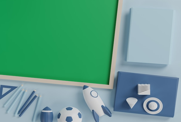 3 dイラストレーション、緑のチョークボードが付いているテーブルに学用品の青いトーン、学校のコンセプトに戻る3 dレンダリング