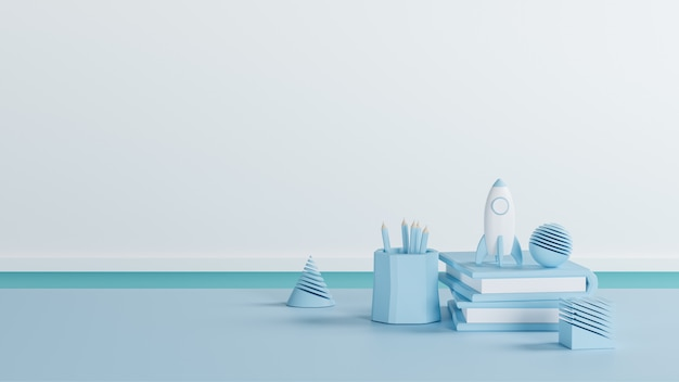 3d illustration, blue tone of school supplies on the table, 3d rendering with back to school concept