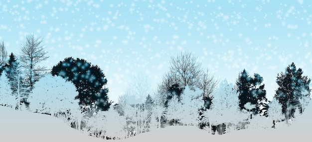 3d 일러스트 푸른 겨울 풍경 푸른 산 소나무 숲 눈 덮인 하늘 현실적인 그림