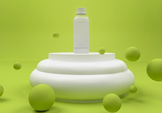 3d illustration. bottle on a pedestal