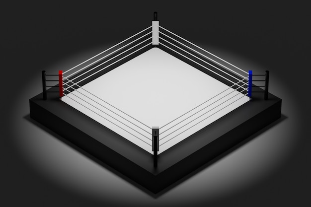 3d illustration of a boxing ring for fighting on a black background