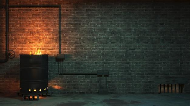 3dイラスト。夜の街路ファサードのレンガの壁。スラム街の玄関口で燃えるバレル炉床