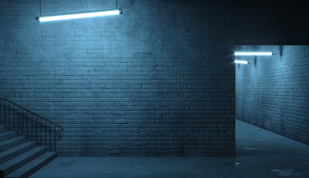 3dイラスト。夜の街路ファサードのレンガの壁。部屋への入り口。ダーティな古いゲートウェイ。ランプ。背景バナーの壁紙