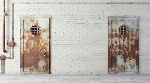 3d иллюстрации. кирпичная стена уличного фасада тюрьмы. вход в комнату. грязный старый шлюз. фон баннера обои