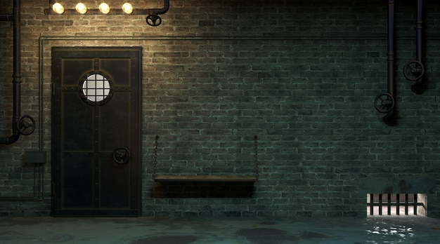 3d illustration. brick wall of a street facade at night. entrance to the room. dirty old gateway. lamp.