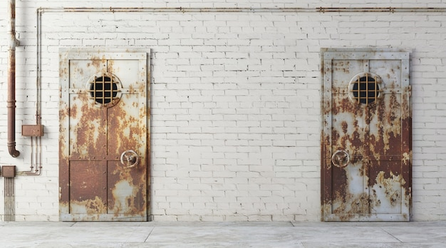 3d illustration. brick wall of a street facade prison. entrance to the room. dirty old gateway. background banner wallpaper