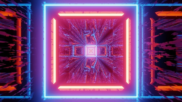 3d illustration of bright colorful neon illumination in shape of squares with light reflection effect for abstract geometric design