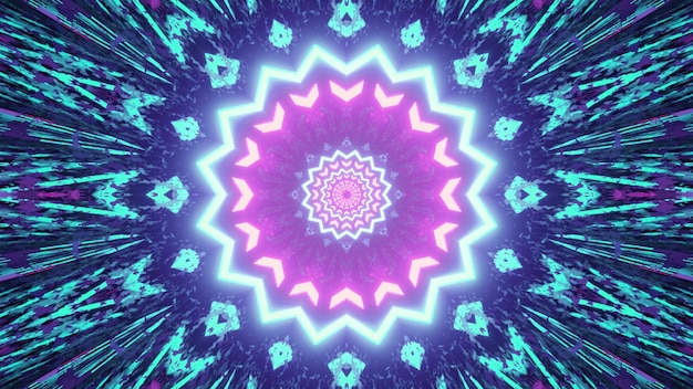 3d illustration of bright fractal kaleidoscope pattern with symmetrical neon illumination as abstract