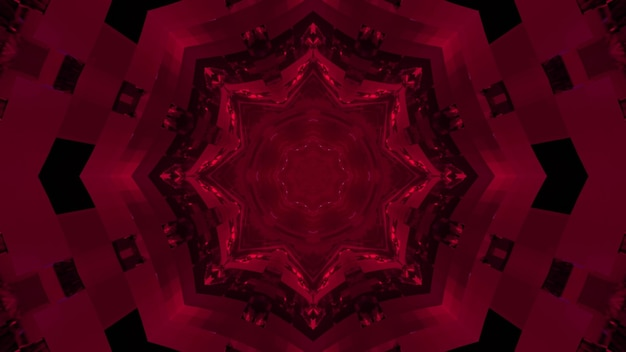 3d illustration of bright fuchsia fractal floral pattern in dark tunnel as abstract background