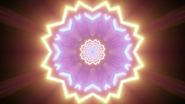 3d illustration of bright glowing geometric floral pattern in golden and purple neon colors on dark