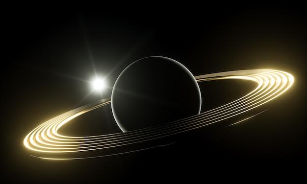 3dイラスト。宇宙空間にリングが付いた明るい光の惑星。サイエンスフィクションの概念。