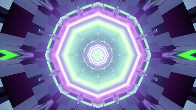 3d illustration of bright neon green and purple lamps glowing in dark tunnel with abstract geometric figures