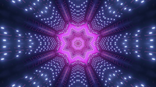 3d illustration of bright purple star shining with neon light inside dark violet tunnel