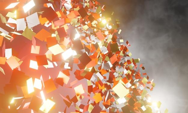 3d 그림 깨진 된 다채로운 가로 배경입니다. 폭발, 파괴 금이 간 표면 그림 디자인 및 배너