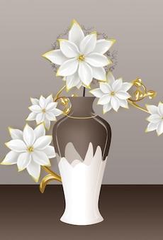 3d иллюстрации коричнево-белая ваза с золотисто-белыми цветами на темном фоне