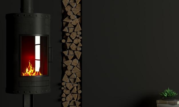 3d иллюстрации. брутальный стальной камин в интерьере в стиле лофт.