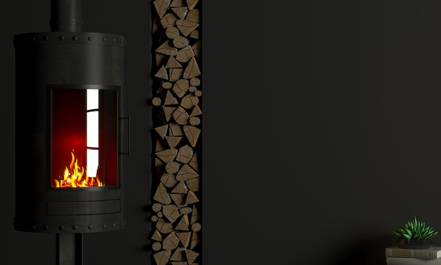 3d illustration. brutal steel fireplace in the interior in the style of loft.