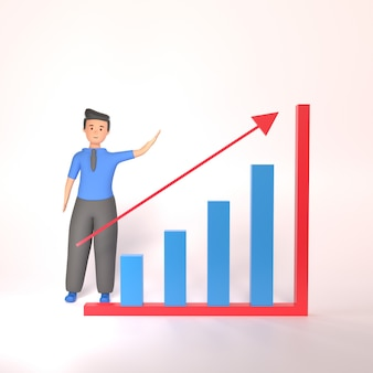 3d illustration of business man standing pointing at chart. 3d businecc concept illustration. concept of financial growth
