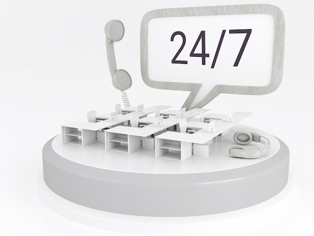 3d illustration. call center office with headphones and phone. 24/7 support concept.
