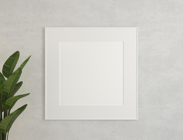 3d 그림입니다. 캔버스, 흰색 벽에 프레임 모형.