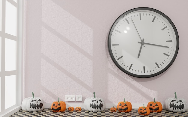 3d illustration .canvas in a living room halloween decoration. white and orange pumpkins . 3d rendering