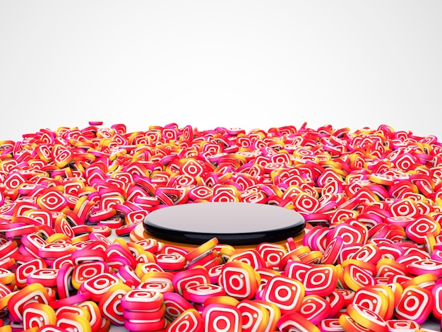 3d illustration of capsules for social networking service instagram. podium in center