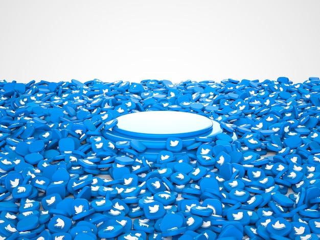3d illustration of capsules for social networking service twitter. podium in center