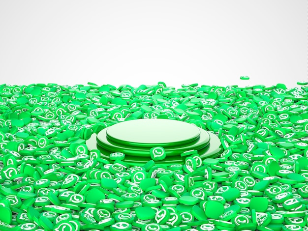 3d illustration of capsules for social networking service whatsapp. podium in center