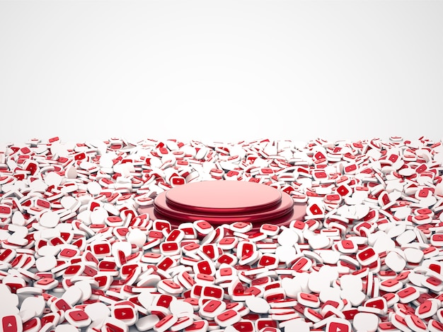 3d illustration of capsules for social networking service youtube. podium in center