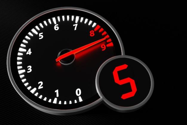 3dイラスト車のタコメーターのクローズアップ。車のダッシュボードの記号と記号。